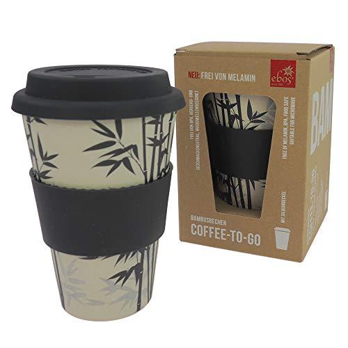 ebos Taza de bambú Coffee-to-Go, sin melamina, taza reutilizable de materiales naturales, apta para lavavajillas y microondas, hoja de bambú