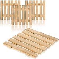 com-four® sottopentola 4x in bambù - sottopentola sostenibile per pentole, padelle, teglie e wok - sottopentola naturale (04 pezzi - bamboo v1)