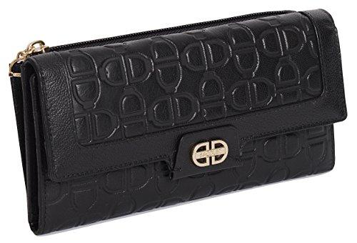 SADDLER Leder Brieftasche, 19,5 cm, mit Monogramm, 18 Kreditkarten-Steckplaetze & vorne und rueckseitig durchgehendes Muenzfach