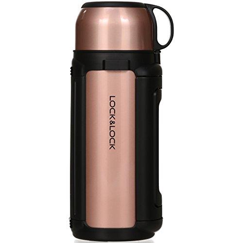 LOCK & LOCK Isolierkanne 1,5 Liter - NEW GIANT HOT TANK - Isolierflasche Edelstahl auslaufsicher - Thermo Warmhaltekanne für Kaffee, Tee & Kaltes - Gold Pink