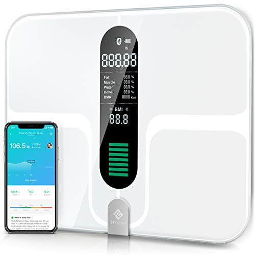 Etekcity Smart Bluetooth Body Fat Scale - Digital Bathroom Weight Scale with 12 Essential Measurements, Large Platform and Clear LCD Display, ITO Conductive Glass, 400lb (180kg)