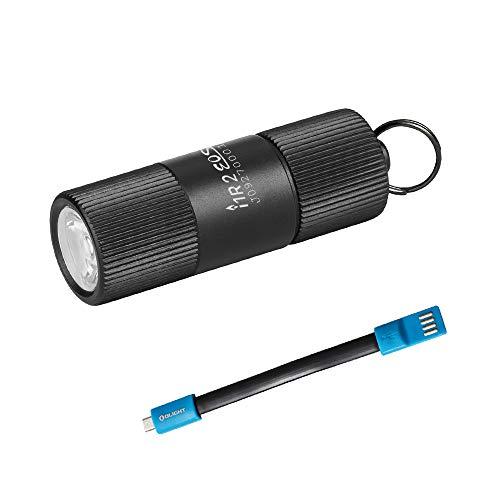 OLIGHT オーライト小型懐中電灯 I1R 2 EOS 最新版 超ミニキーホルダーライト150ルーメン ミニフラッシュライト IPX8防水 耐衝撃 2モード USB充電式LED ライト (I1R 2+USB充電ケーブル)