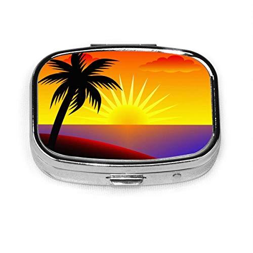 Palm Tree Sunset - Pastillero personalizado/Pastillero/Pastillero cuadrado
