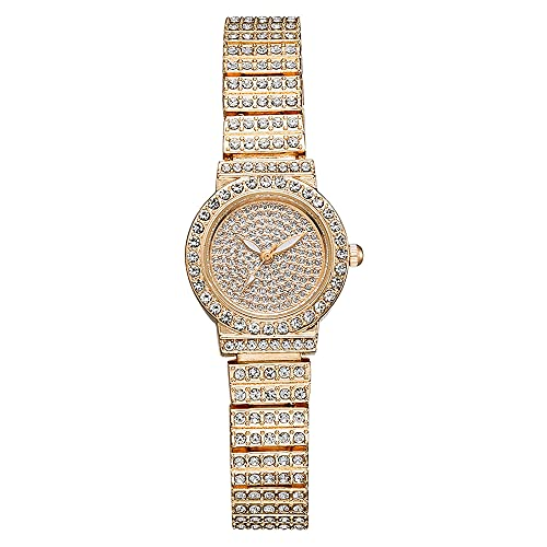 KLFJFD 2pcs Señoras Temperamento De Moda Completo Diamante Pequeño Dial Reloj A Prueba De Agua con 1 Pulsera De Diamantes De Imitación Chica Creativa Sin Escala Pulsera De Diamantes D