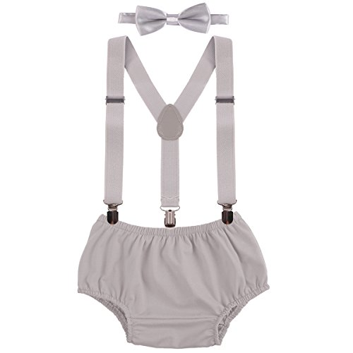 Baby Boys Cake Smash Outfit First Birthday Bloomers Bowtie Adjustable Y Back Suspenders Clothes set Grey One Size
