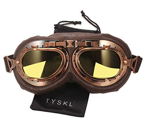 TYSKL Retro Pilot Motorcycle Goggles Fog-proof Warm Goggles ATV Bike Motocross Glasses Protective Eyewear (B-Yellow Lens)