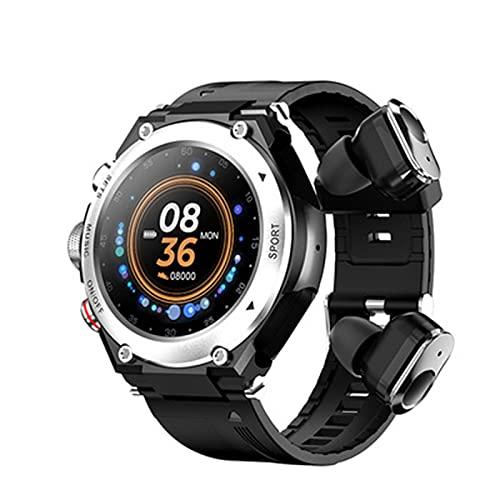 WWAIHY Reloj Inteligente Auricular Bluetooth Mujer Hombre,Resistencia al Agua IP67 smartwatch pulsometro de muñeca,mp3 grabación de música de Llamada,para Android iOS(Size:un tamaño,Color:Gris)