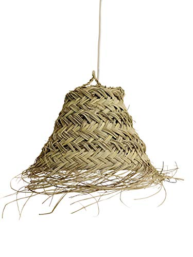 Lámpara de fibra natural. Lámpara de esparto. Lámpara colgante de techo. Los materiales naturales triunfan en la decoración, creando ambientes cálidos y frescos. Tamaño P (Choroní-P)