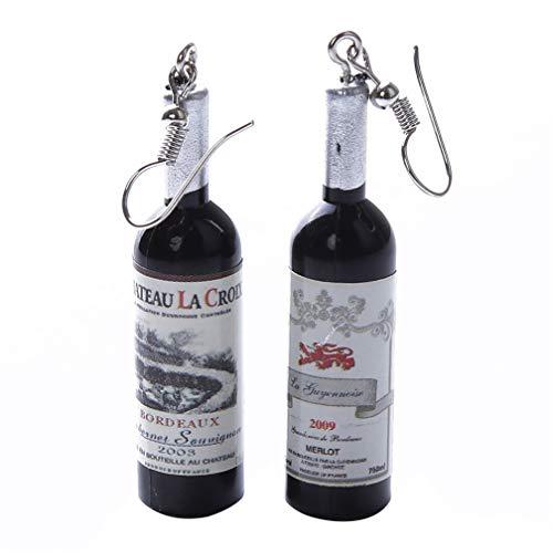LJSLYJ Wine Bottle Pendant Dangle Earrings Clear Glass Cocktail Red Wine Earringsfor Women Earrings Jewelry