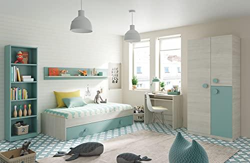 Miroytengo Pack Dormitorio Juvenil Infantil Completo Color Verde y Blanco (Cama Nido+Estante+Armario+Escritorio+estantería) con UN SOMIER