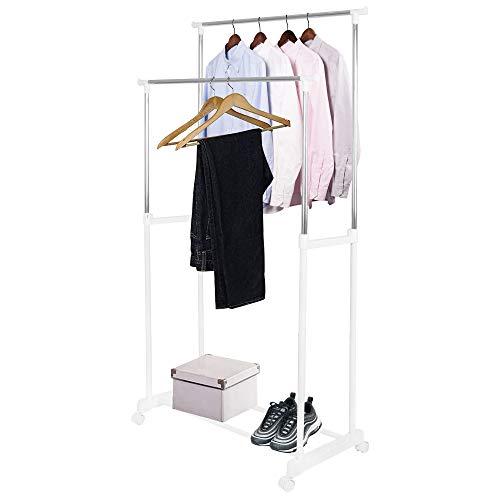 SPRINGOS Kleiderständer, Rollgarderobe, Teleskop-Wäscheständer mit 2 Kleiderstangen, aus Metall, höhenverstellbar von 95 bis 165 cm, Teleskop-Ständer, Kleiderständer auf Rollen (Weiß)