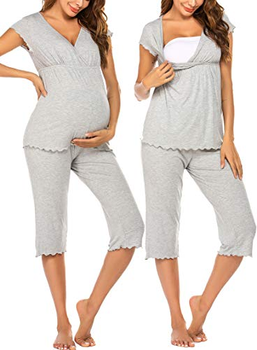 Ekouaer Maternity Nursing V Neck T Shirts Capri Set for Breastfeeding Maternity Pajamas Grey