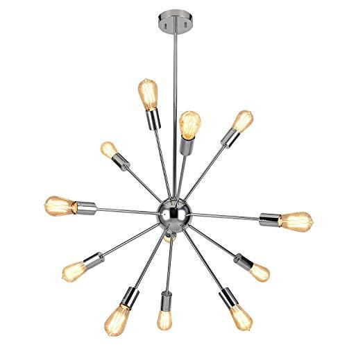ENCOFT Sputnik Kronleuchter Silber Modern Deckenleuchte Pendelleuchte Hängelampe Chrome Metall mit 12 E27 Lampenfassung für Esszimmer Zimmer Wohnzimmer Küche Restaurant