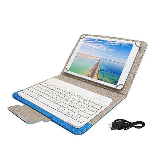 KUIDAMOS Funda de PU para Tableta, Juego de Funda Liviana para Tableta con Bluetooth para Muchos tamaños de tabletas de 9.7in a 10.1in(10-Inch Blue Leather Case + White Keyboard)