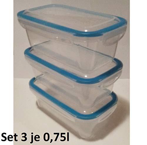 RDI 3 barattoli salvafreschezza, contenitori per congelatore, Contenitore per Alimenti, SET3-3x0,75L
