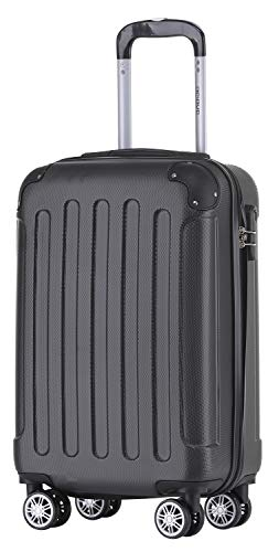 BEIBYE Hartschalen-Koffer Trolley Rollkoffer Reisekoffer Handgepäck 4 Rollen (M-L-XL-Set) (Schwarz, M)