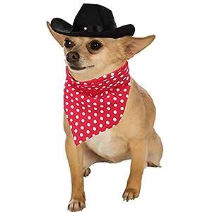 YOAVIP Pet Dog Cat Cowboy Hat Bandana Scarf Party Supplier Costume Set
