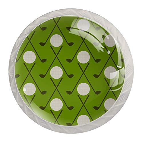 Perillas de cristal para gabinete de gabinete de 4 unidades, redondas, para aparadores, diseño de golf vintage con fondo verde, paquete de 4