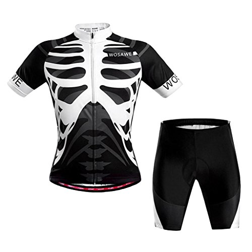 MagiDeal Hombres Bicicleta Ciclismo Jersey Esqueleto Camiseta Superior con Pantalones Cortos Conjunto - Blanco Negro, XXL