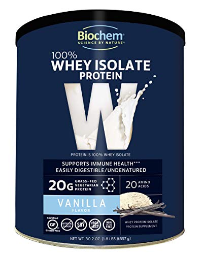 Biochem 100% Whey Isolate Protein - Vanilla Flavor - 30.2 Ounce - Supports Immune Health - Easily Digestible - Refreshing Taste - 20g Vegetarian Protein - Amino Acids