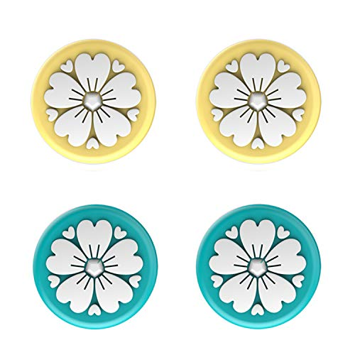 LeyuSmart Sakura Flower Design Thumb Grip Caps, Joystick Cap for Nintendo Switch & Lite, Soft Silicone Cover for Joy-Con Controller ( Turquoise&Yellow)