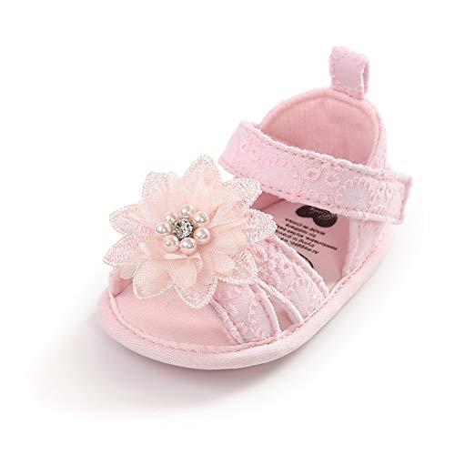 Geagodelia Sandali con Inturini Estivi Con Fiori e Perla per Bambine Scarpine Antiscivolo Morbide Pantofole in Cotone per Neonata (Rosa, 12-18 Mesi)