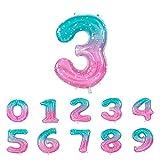 Globos de Números Foil Metálico Multicolor de 110cm, para Fiestas de Cumpleaños, Números 0-9 Gigantes Rosa y Azul, para Decoración de Aniversarios (3)