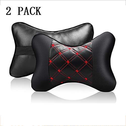 MIMI KING Ultra Light Car Nackenkissen 2 Stück, PU-Leder-Spielraum-Kissen Für Kopfstütze Nackenstütze Für Autositz, Black + Red