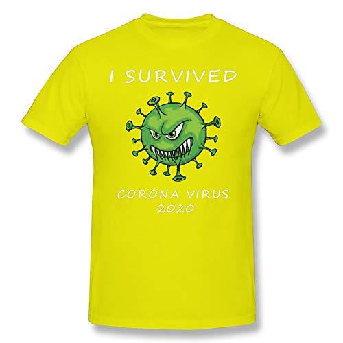 W&TT Camiseta para Mujer y Hombre - I Survived Coro-Virus 2020 - Novedad Camiseta de Manga Corta para conmemorar CO-VID-19,Yellow 3,XS