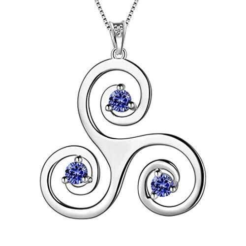 Aurora Tears Celtic Knot Necklace 925 Sterling Silver Women Celtic Triple Pendant Crystal Cubic Zirconia Jewelry DP0165S