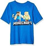 Minecraft Big Boys' Steve and Alex on The Go Graphics Short Sleeve T-Shirt, Blue, 8