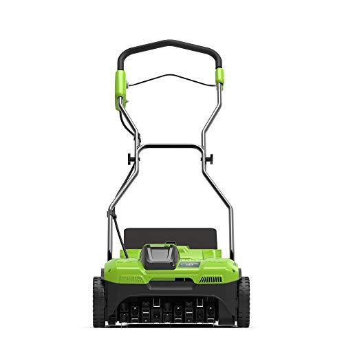 Greenworks Akku-Rasenlüfter G40DT35 (Li-Ion 40V 35cm Arbeitsbreite 3600 U/min 20 Stahlfedern mit 76mm Tiefe 20l Fangsack ohne Akku und Ladegerät)