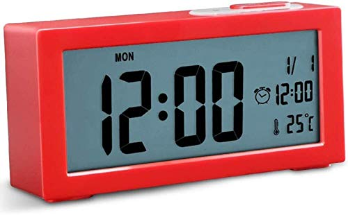 Campana mecánica Relojes de alarma digital, sin tictac que funciona con pila digital, pantalla grande, función de retroiluminación ajustable de temperatura, función de luz de snooze for dormitorio mul