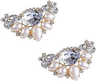 闪亮 珍珠 水晶 鞋夹 1双 可爱 鞋饰 鞋子饰品 一触式穿脱 点击 椭圆形进行