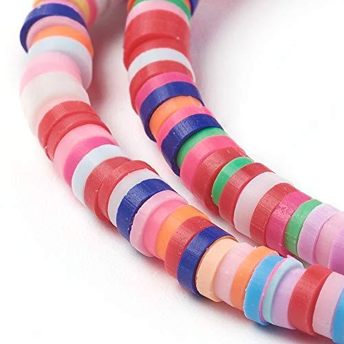 Beadthoven 10 hebras de 4 mm planas redondas de arcilla polimérica cuentas coloridas de disco Ghana africana Heishi espaciador cuentas sueltas para verano Boho Surfer Abalorios para hacer joyas