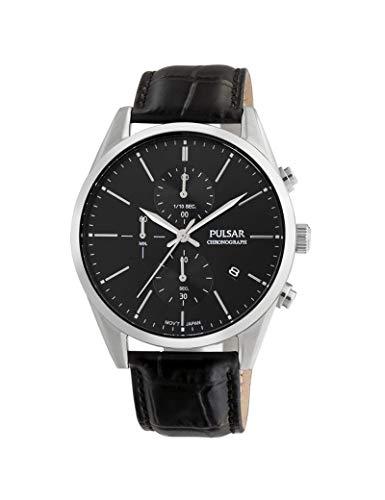 Pulsar - Reloj de Piel para Hombre, Color Negro