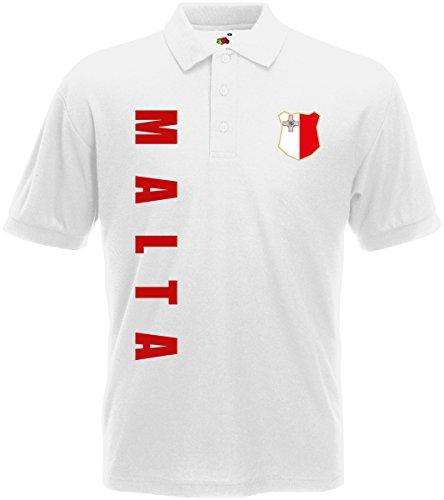 Malta Polo-Shirt Trikot Wunschname Wunschnummer (Weiß, XXL)