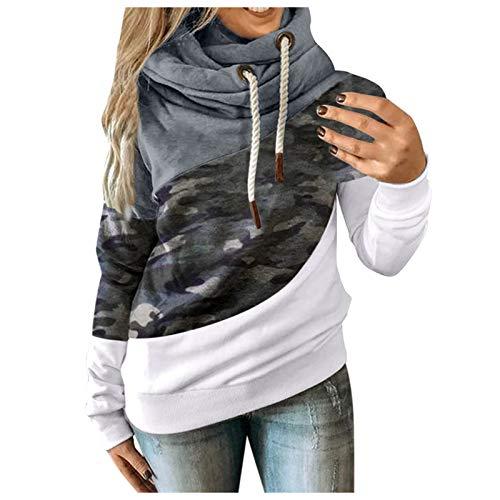 MINYING - Sudadera con capucha para mujer, talla grande, manga larga, otoo e invierno, informal, clida, de algodn con contraste slido, para mujer 04- Gris L