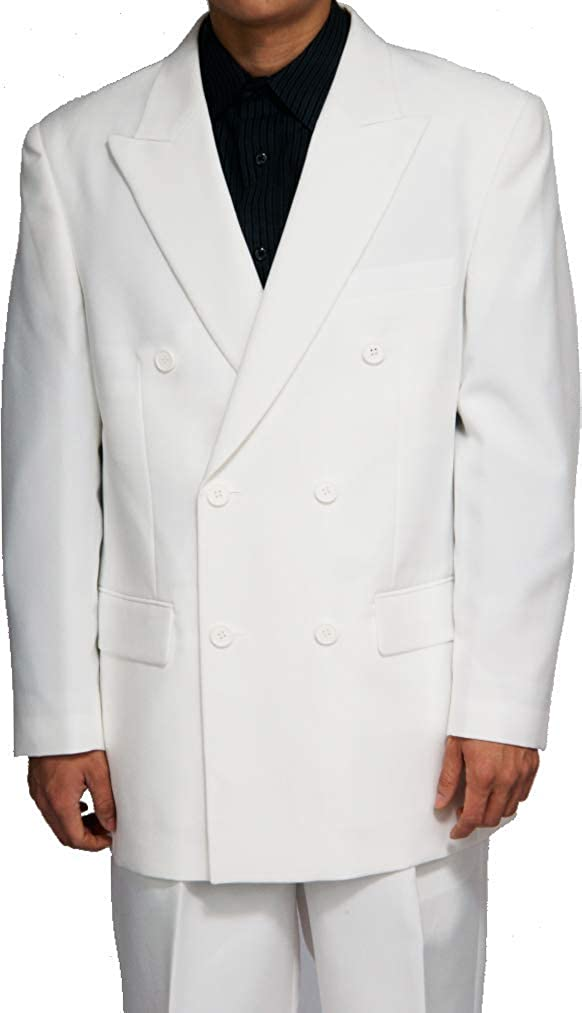 Frank Men's Suit Custom Double Breasted 2 Piece Groom Tuxedos White