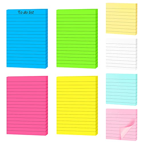 Paquete de 8 Notas Adhesivas,400 hojas de Notas Adhesivas con Forro de Colores Brillantes,Notas Autoadhesivas, Notas Adhesivas en Colores Pastel con Líneas(8 colores,2 tamaños)