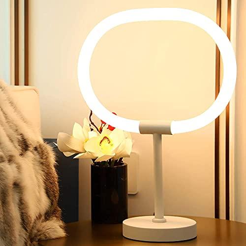 KIAMPON LED Dimmbar Tischlampe 3 Stufige Helligkeit 3000K Warmweiß Schreibtischlampe Ringförmige Tischleuchte mit 1.7m Kabel Moderne Nachttischlampe Leselampe für Schlafzimmer Wohnzimmer Studie