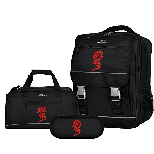 Set Schulranzen KEANU Schulrucksack + Sporttasche + Etui Box :: 25 Liter, Getränke-Netze, Rückenpolster und Reflektoren :: (Red Dragon)