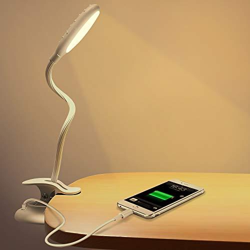 ONLT デスクライト LED usb 充電式 電気スタンド 1200mAh クリップライト 読書灯 ナイトライト スマホに充電対応 無段階調光・2段階調色 360度回転 タッチセンサー 電気スタンド 勉強 目に優しい 緊急用ライト 仕事/譜面/寝室/勉強