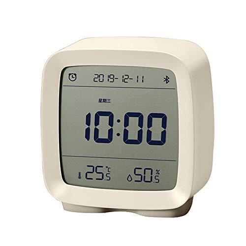 Guangmaoxin para Mijia Qingping Reloj Despertador Digital, Bluetooth 5.0, Pantalla LCD, Brillo Regulable, Reloj de Alarma Digital con Función Snooze, 8 Música, Trabajando con Mi Home App