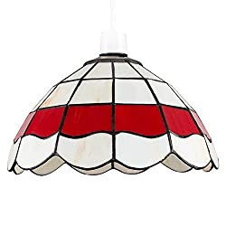 Easy Fit Pendant Light Shade - Fits to your existing lamp holder in seconds Tiffany Leaded Stained Glass. Cream and Red Glass Panels - Antique Brassed Metal Finish Measurements: Height 150mm x Diameter 255mm. Hole Diameter: 30mm Suitable for energy s...