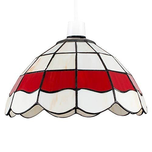 MiniSun – Maravillosa pantalla de lámpara de techo de estilo 'Louis Comfort Tiffany' - vintage en colores crema y rojo