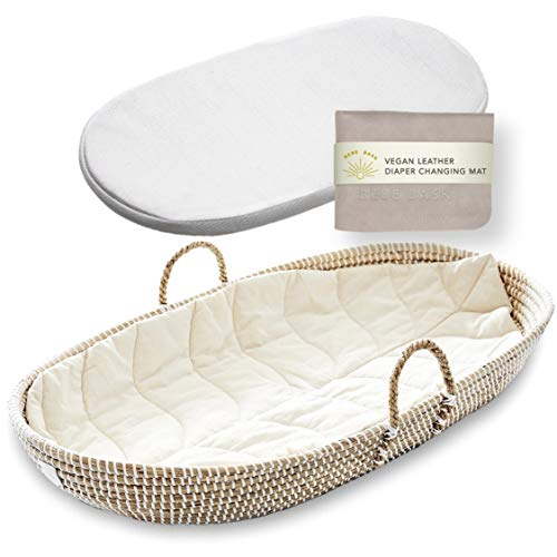 BEBE BASK Baby Changing Basket Set - Handmade Seagrass Changing Table Basket - Luxury Leaf Linen Liner - Thick, Soft & Waterproof Bamboo Pad - Vegan Leather Baby Changing Mat