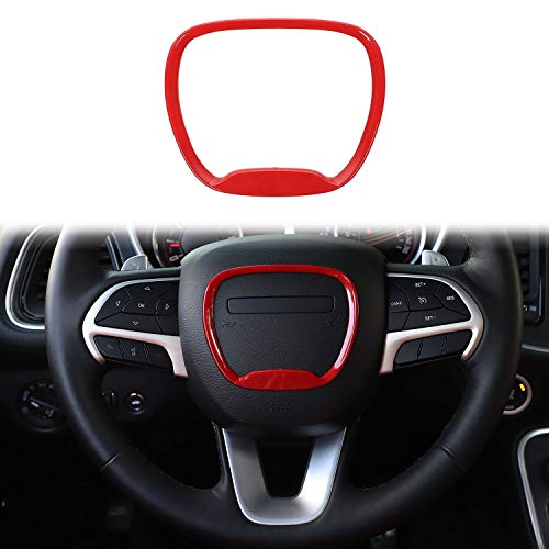 Voodonala for Challenger Charger Steering Wheel Trim, for 2015-2020 Dodge Challenger Charger, for 2014-2020 Jeep Grand Cherokee SRT8, ABS Red 1pc