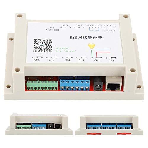 Kafuty Módulo de relé Ethernet de 8 Canales Interruptor de Red Voltaje de Entrada de 9-24 V con luz indicadora de Encendido con protección de conexión inversa, etc.