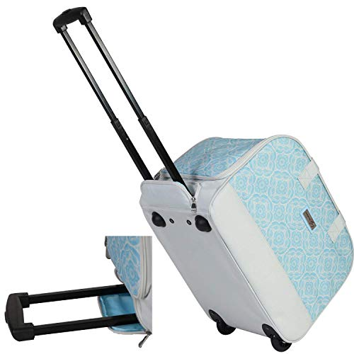 Everything Mary Sewing Machine Machine Rolling Carrying, Light Blue - Trolley Bag with Wheels for Brother, Singer & Most Machines - Wheeled Tote Carrier for Notions & Crafts
